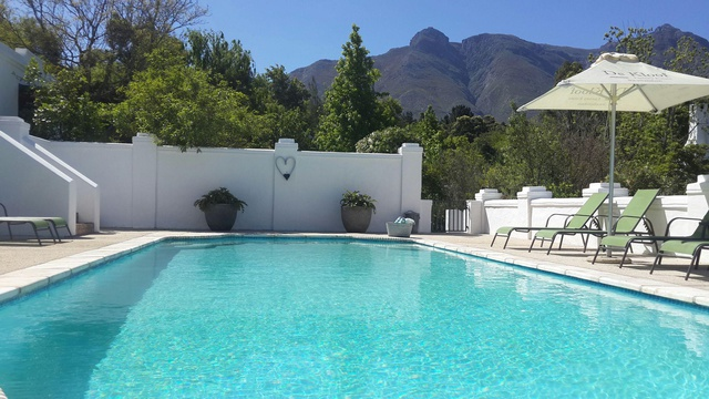 pool spa area at 5 star De Kloof Luxury Estate boutique hotel and spa Swellendam Western Cape South Africa