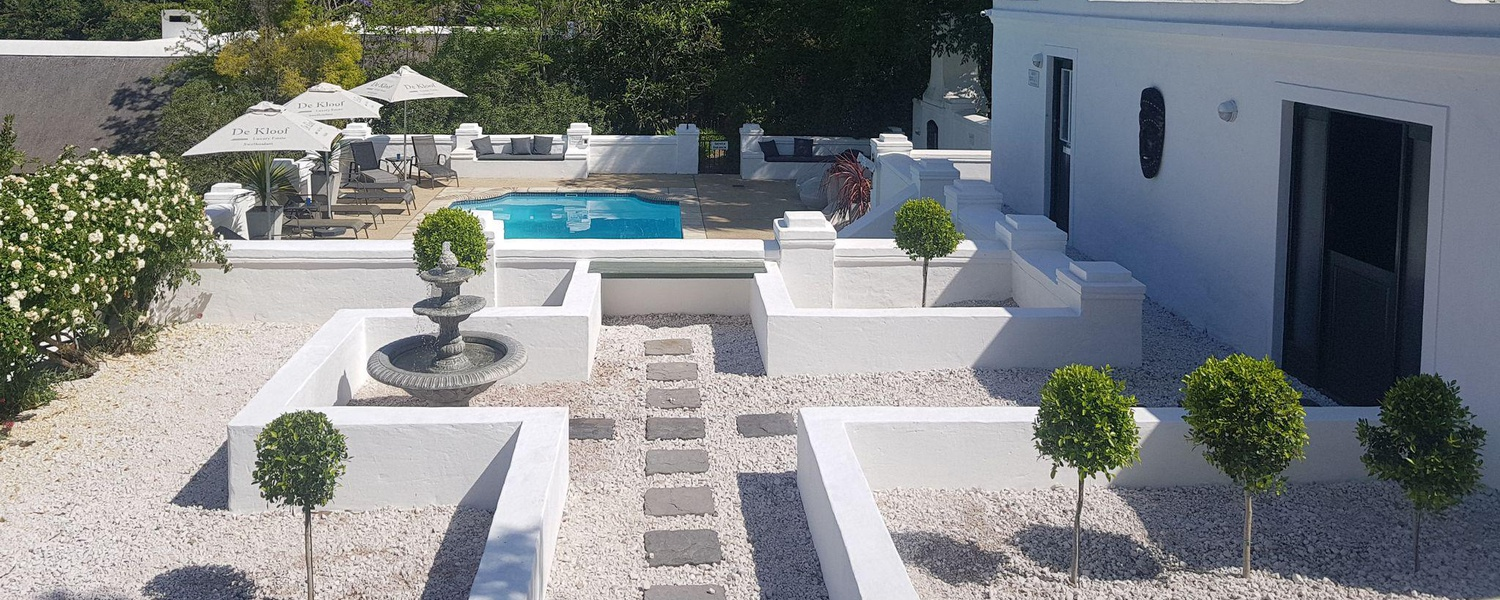 pool and spa area at 5 star De Kloof Luxury Estate boutique hotel and spa Swellendam Western Cape South Africa